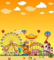 Amusement park scene at daytime with blank yellow sky vector