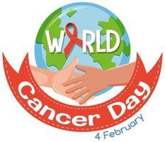 logotipo del día mundial del cáncer o banner con cinta roja