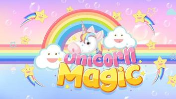 Unicorn icon on magic  pastel background vector
