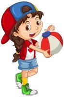 niña canadiense sosteniendo una bola de color