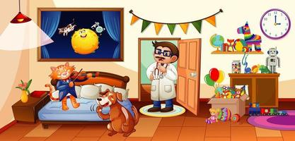 Dormitorio para niños con muchos juguetes y escenas de perros y gatos.