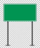 Banner de tráfico verde vacío sobre fondo transparente