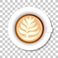 Vista superior de la taza de café aislada sobre fondo transparente