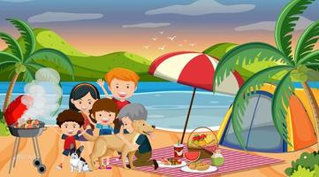 escena de picnic con familia feliz en la playa