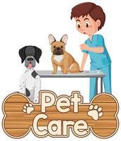Logotipo de cuidado de mascotas o banner con médico veterinario y perros sobre fondo blanco. vector