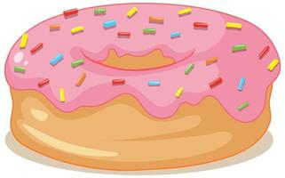 Strawberry donut isolated on white background vector