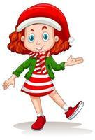 Cute girl wearing Christmas costumes cartoon character vector