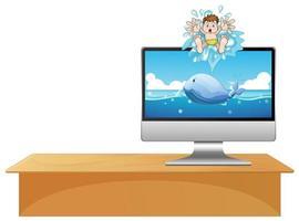 computadora con ballena en el escritorio