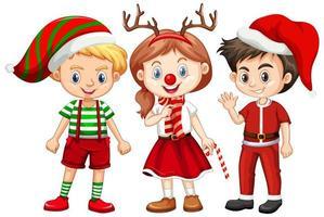 Tres niños disfrazados de Navidad personaje de dibujos animados sobre fondo blanco.