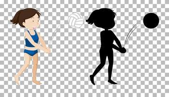 personaje de dibujos animados de verano sobre fondo transparente y su silueta vector