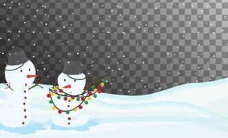 escena de la naturaleza en el tema de la temporada de invierno con fondo transparente vector