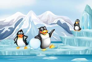 escena con pingüinos en el hielo. vector