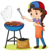 Girl and grill stove with food on white background