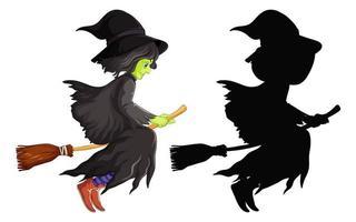 Bruja con escoba en color y silueta personaje de dibujos animados aislado sobre fondo blanco.