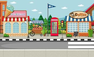 Street side scene with ice cream shop and coffee shop scene vector