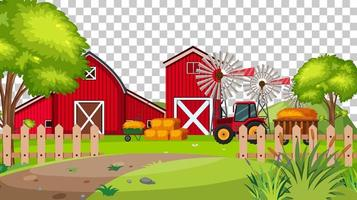 Red barn in farm scene on transparent background