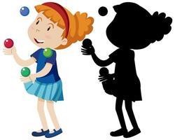 niña feliz jugando con muchas bolas en color y silueta vector