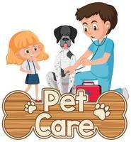 Logotipo de cuidado de mascotas o banner con médico veterinario y perro sobre fondo blanco. vector