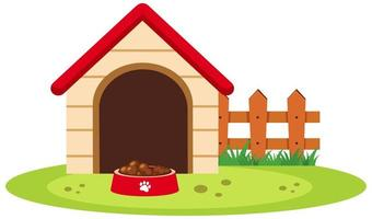 Dog house with food bowl isolated on white background
