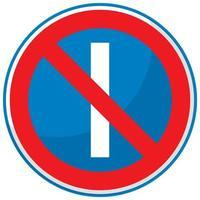 Estacionamiento prohibido en días impares firmar aislado sobre fondo blanco.