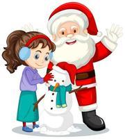 Santa Claus con niña creando muñeco de nieve sobre fondo blanco.