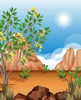 paisaje desértico salvaje en la escena diurna vector