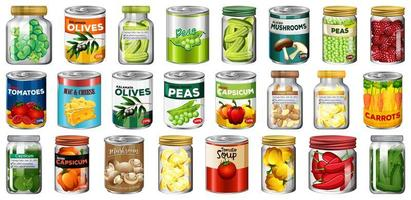 Set of different canned food and food in jars isolated vector