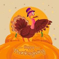 Thanksgiving Illustration of Turkey and Pumpkin