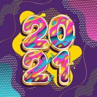 Energetic Colorful Happy New Year 2021 Greeting Concept vector
