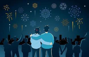 una pareja mirando el espectáculo de fuegos artificiales vector