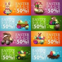 Collection of Easter colorful horizontal discount banners vector