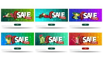 Collection of discount banners with spring symbols vector