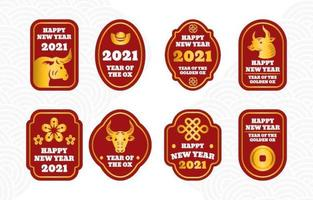 Simple Chinese New Year Golden Ox Label Collection