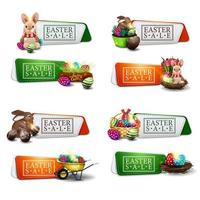 Set of Easter discount colorful banners vector