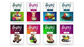 Collection of vertical discount banners with Easter symbols vector