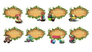 Easter banners in form of wooden board set vector