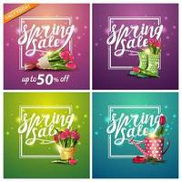 Set of square spring discount banners with flowers.
