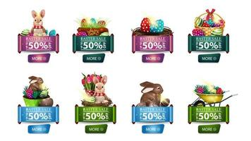 Set of discount banners with Easter icons vector
