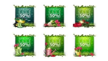Large collection of spring discounts templates vector