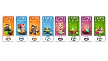 Collection of Easter vertical discount banners vector