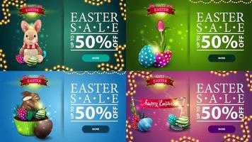 Collection of horizontal discount banners with Easter icons vector