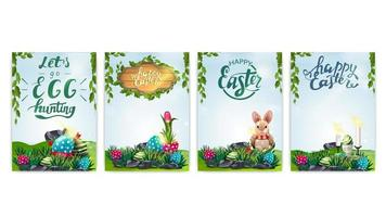 Collection of Easter postcards with spring landscape vector