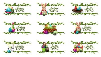 Collection of postcards with Easter icons vector