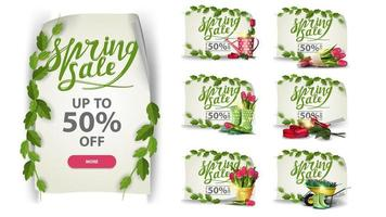Set of discount banners with spring icons vector