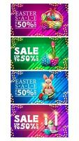 Easter discount banner set with abstract shapes vector
