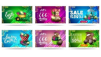 Easter horizontal colorful postcards and discount banners vector
