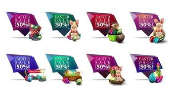 Collection of geometric Easter discount banners