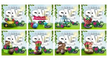 Collection of discount banners with Easter symbols vector