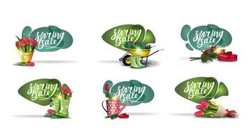 Set of spring discounts banners in liquid style. vector