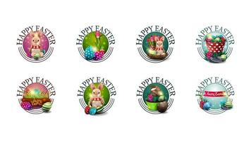 Collection of round Easter greeting symbols vector